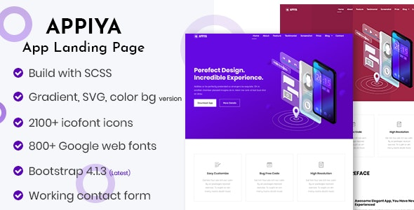 Appiya - App Landing Page by ThemeAtelier | ThemeForest