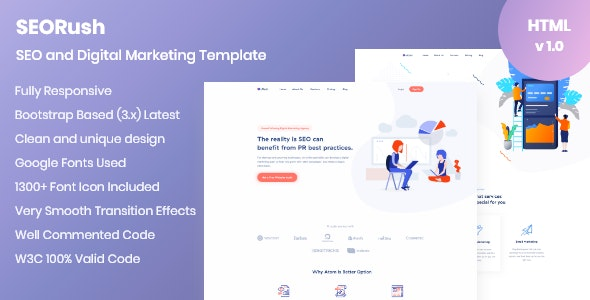 SEORush – Digital Marketing and Software Consulting Template - Technology Site Templates