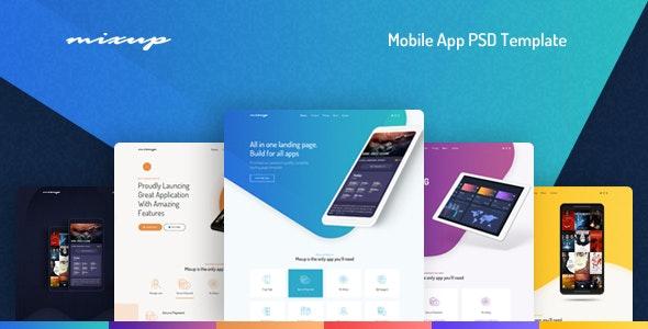 Mixup - App Landing Page PSD Template - Technology Photoshop