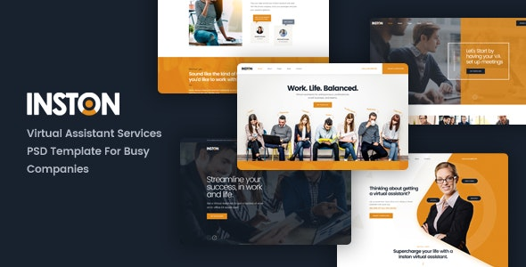 Inston - Virtual Assistant Services PSD Template - Business Corporate