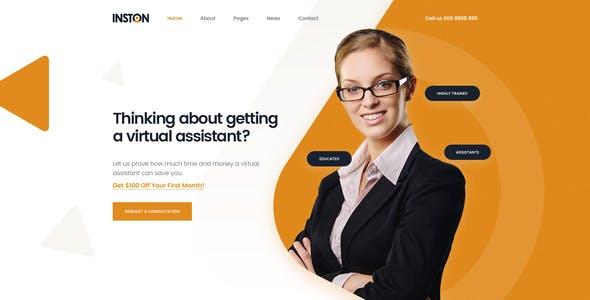 Inston - Virtual Assistant Services PSD Template