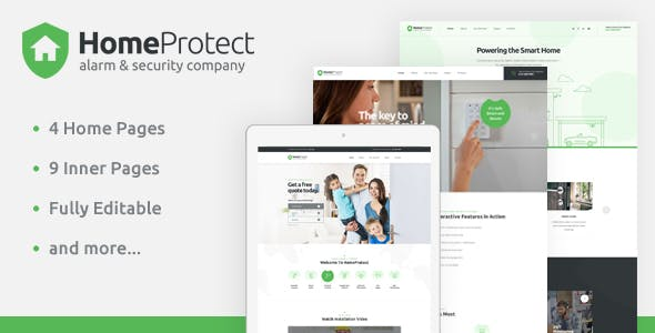 HomeProtect - Smart Alarm & Security Systems PSD Template by Layerdrops