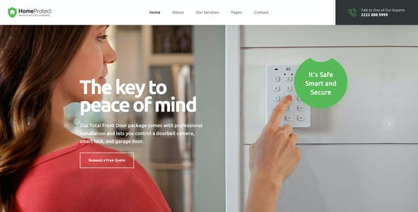 HomeProtect - Smart Alarm & Security Systems PSD Template