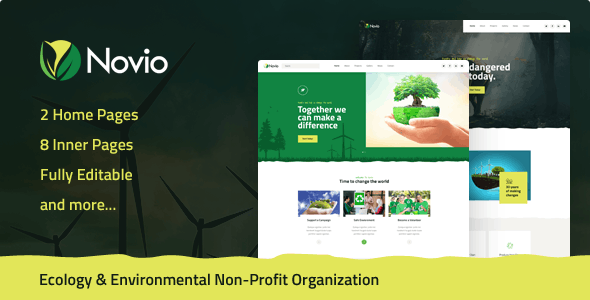Novio - Ecology & Environmental Non-Profit Organization PSD Template - Environmental Nonprofit