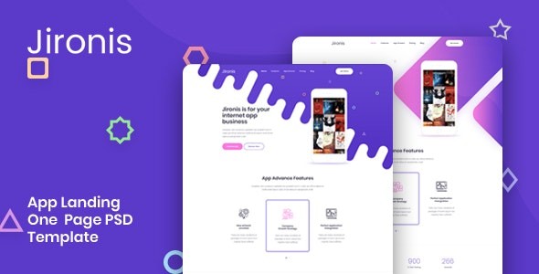 Jironis - App Landing One Page PSD Template - Technology PSD Templates