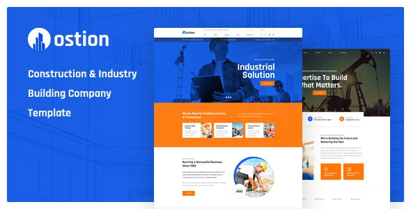 Ostion - Construction & Industry Building Company PSD Template - Business Corporate