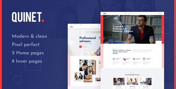 Quinet - Business & Financial Advisor PSD Template - Business Corporate