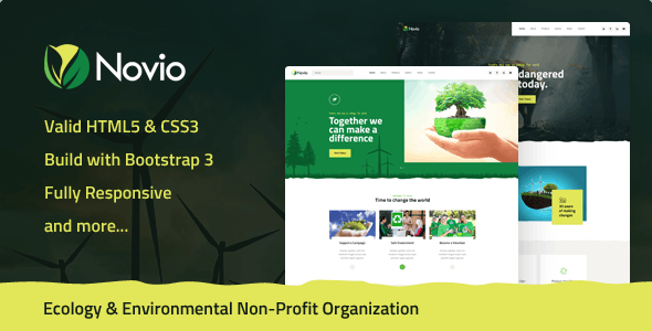 Novio - Ecology & Environmental Non-Profit Organization HTML5 Template