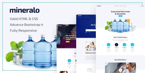 Mineralo - Bottled Water Delivery Service For Home & Office HTML Template - Business Corporate