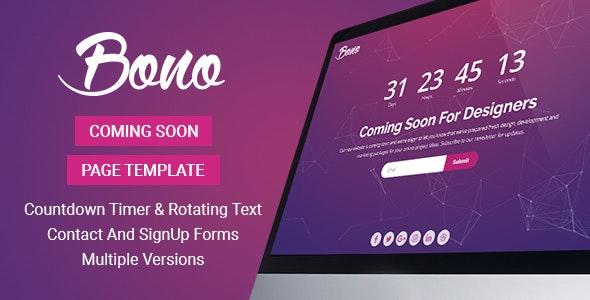 Bono - Coming Soon Page Template by InovatikThemes | ThemeForest