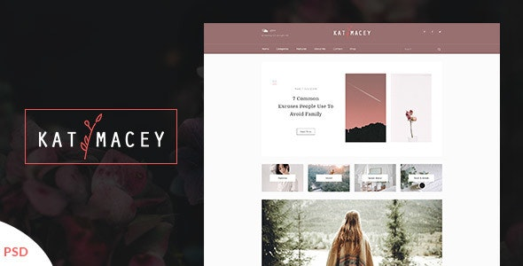 Katymacey – Personal Blog PSD Template - Creative Photoshop