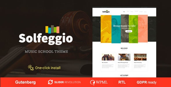 Solfeggio -  Music School Theme - Education WordPress