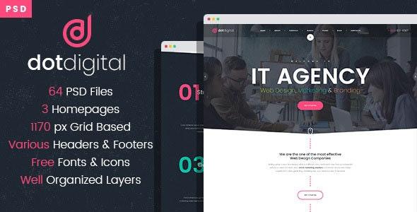 DotDigital – Web Design Agency PSD Template - Business Corporate
