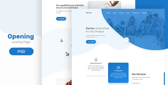 Opening - Landing page PSD Template - Creative Photoshop