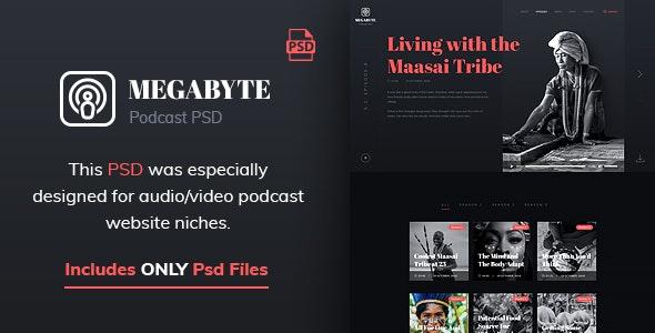 Megabyte - Audio Podcast PSD Template - Creative Photoshop