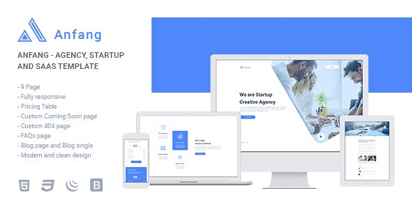 Anfang - Agency, Startup and SaaS Template