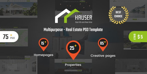 Hauser - Real Estate PSD Template - Corporate Photoshop