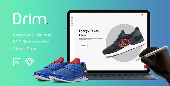 Drim – Creative & Minimal  Shoes Store Templates for Sketch & Photoshop - Retail Photoshop
