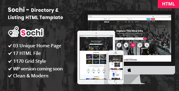 Sochi - Directory & Listing Bootstrap4 HTML Template - Business Corporate