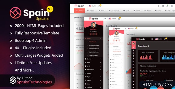Spain –  Bootstrap4 Admin Dashboard  Responsive Multipurpose Template - Admin Templates Site Templates