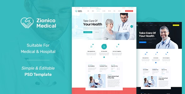 Zionico - Helth and Medicale PSD Template. - Health & Beauty Retail