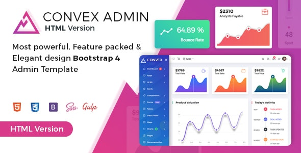 Convex - Clean & Modern Bootstrap Admin HTML Dashboard Template - Admin Templates Site Templates