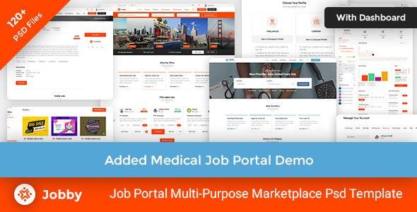Jobby - Job Portal Multi-Pupose Marketplace Psd Template - Business Corporate