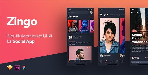 ZINGO - Social UI Kit for Mobile App - Sketch UI Templates
