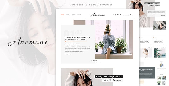 Anemone - A Personal Blog PSD Template - Personal Photoshop