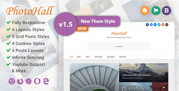 PhotoHall Responsive Photography Blogger Theme by Elyza | ThemeForest