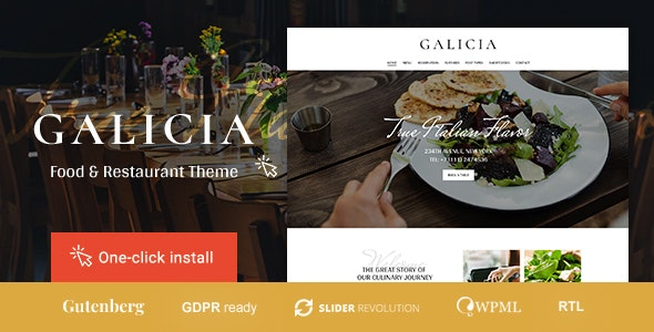 Galicia - Restaurant WordPress Theme - Restaurants & Cafes Entertainment