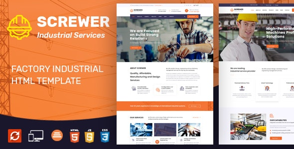 Screwer - Factory & Industrial Business HTML Template - Business Corporate
