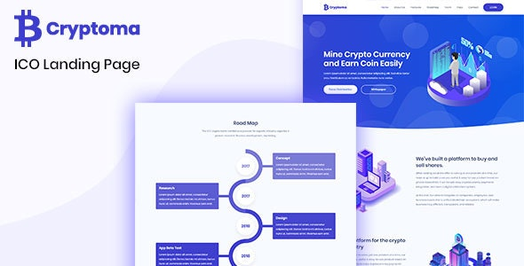 Cryptoma - Bitcoin & Cryptocurrency ICO Landing Page - Business Corporate