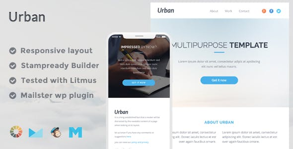 Urban Responsive Email Template + Stampready Builder + Mailchimp + Mailster
