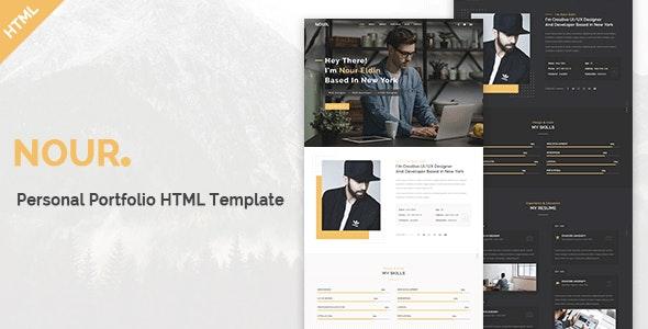Nour - Personal Portfolio HTML Template - Personal Site Templates