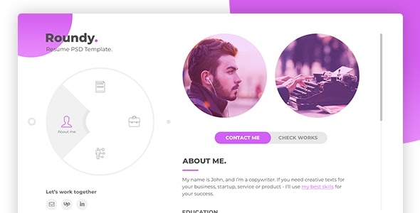 Roundy - Personal Resume / CV / Vcard PSD Template - Virtual Business Card Personal