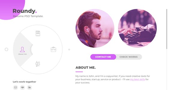 Roundy - Personal Resume / CV / Vcard PSD Template