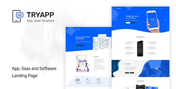 TRYAPP - Software, App & Saas Landing Page Template - Software Technology
