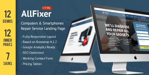 AllFixer - Computers & Smarphones Repair Service Landing Pages Pack - Landing Pages Marketing