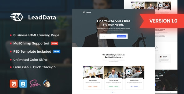 LeadData - Lead Generation HTML Landing Page Template - Marketing Corporate
