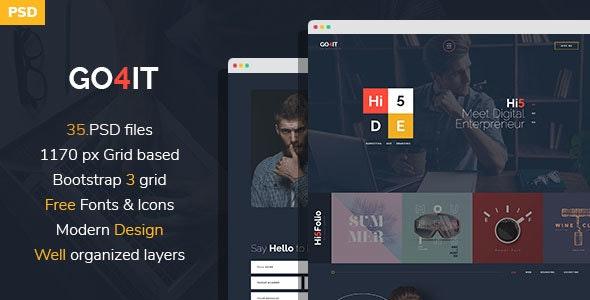 GO4IT - Digital Entrepreneur PSD Template - Corporate Photoshop