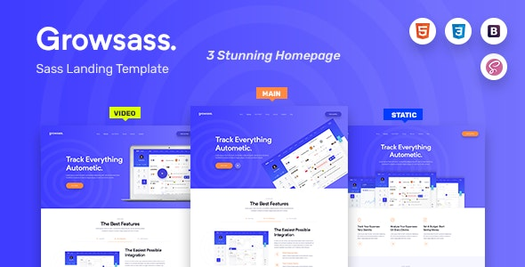Growsass - Startup Agency and SasS Landing Page Template - Software Technology