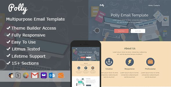 Polly – Responsive HTML Email + StampReady, MailChimp & CampaignMonitor compatible files