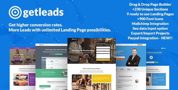 Getleads - Landing Pages Pack with Page Builder - Marketing Corporate