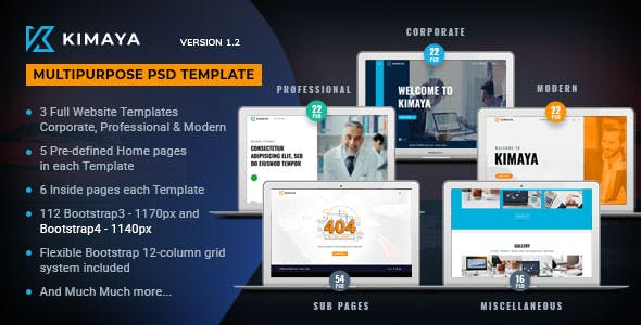 Bootstrap 4 Template PSD Files and Photoshop Templates
