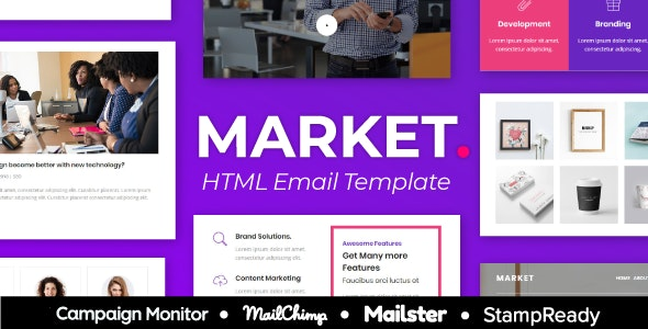 Market - Multipurpose Responsive Email Template for Agency - StampReady + Mailster & Mailchim - Newsletters Email Templates