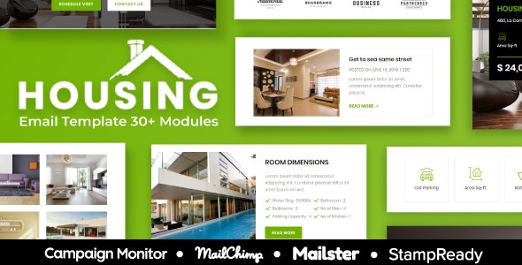 Real Estate - Multipurpose Responsive Email Template 30+ Modules - StampReady + Mailster & Mailchimp - Newsletters Email Templates