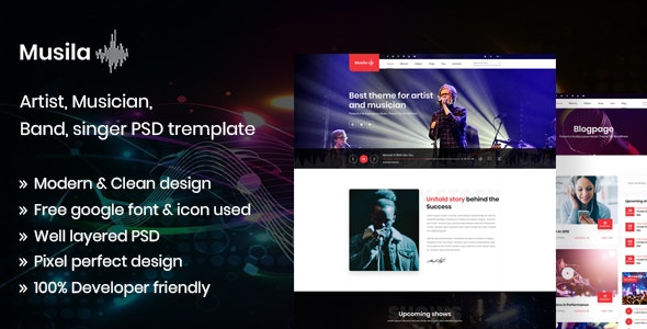 Musila - Music Artist and Band PSD Template - Entertainment Photoshop