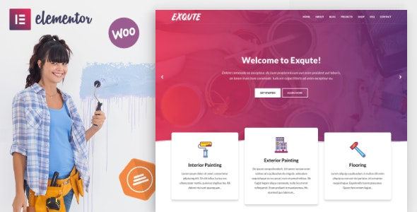 Exqute - Painting Company WordPress Theme - Business Corporate