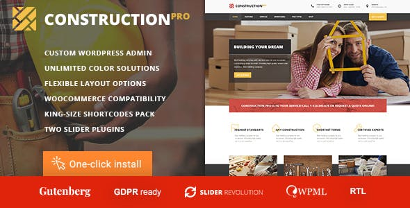 Construction PRO - Building and Renovation Services WordPress Theme